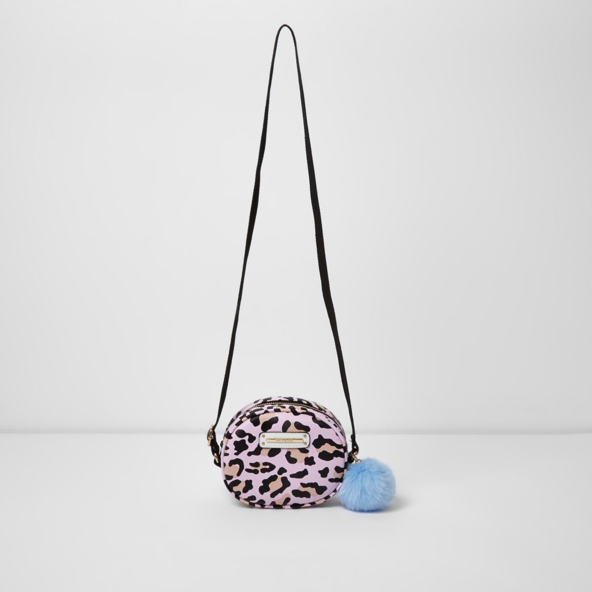 Girls pink leopard print crossbody bag