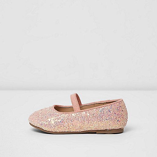 Mini girls pink glitter ballet shoes