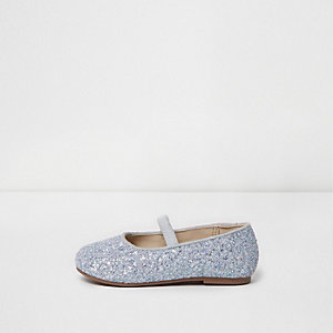 Mini girls silver glitter ballet shoes