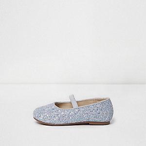 Mini - Zilverkleurige glitterballetschoenen voor meisjes