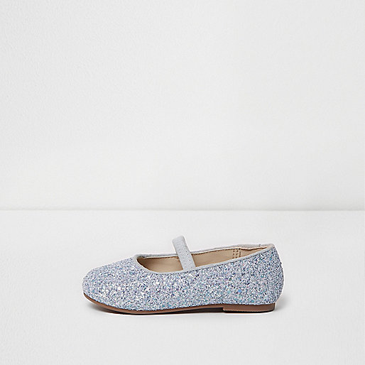 Mini girls silver glitter ballet shoes