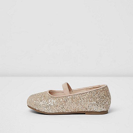 Mini girls light orange glitter ballet shoes