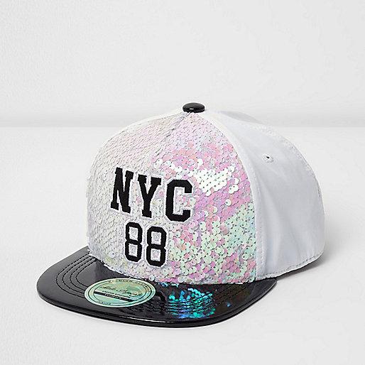 Girls white sequin 'NYC' print flat peak cap