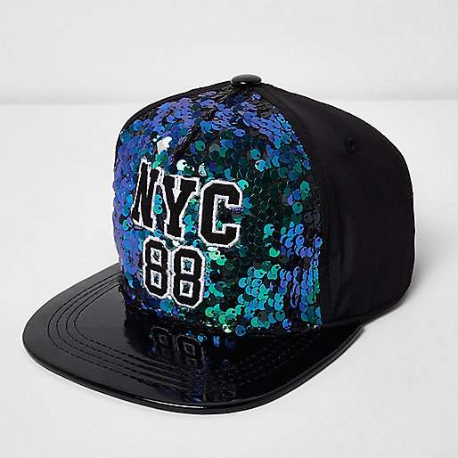 Girls green and blue 'NYC' sequin cap