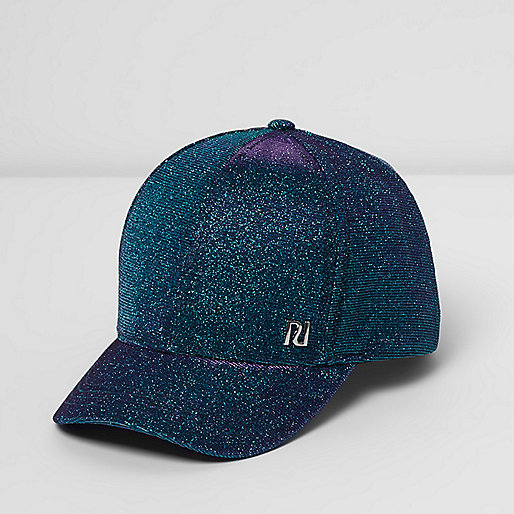 Girls blue glitter cap
