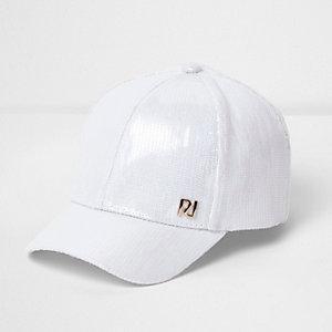 Girls white sequin cap