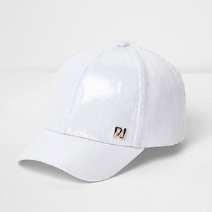 Girls white sequin cap