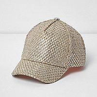 Girls gold straw cap
