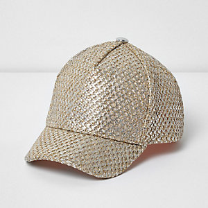 Girls gold straw cap