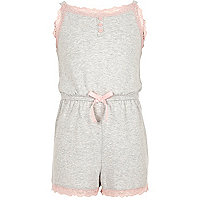 Girls grey marl lace trim pajama romper