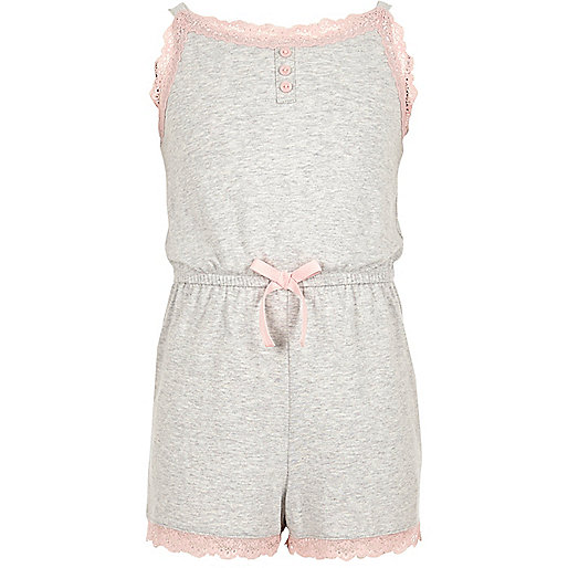 Girls grey marl lace trim pyjama playsuit