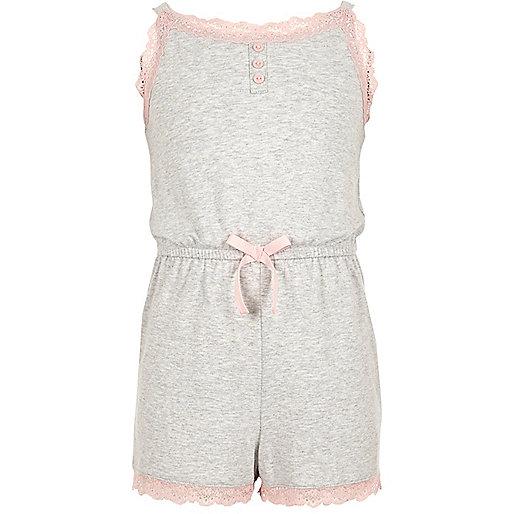 Girls grey marl lace trim pajama romper