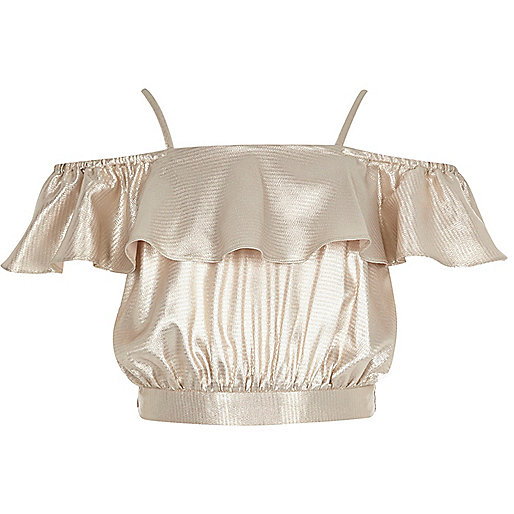 Girls gold metallic bardot frill crop top