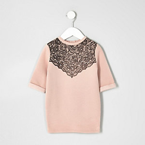 Mini girls pink lace embellished dress