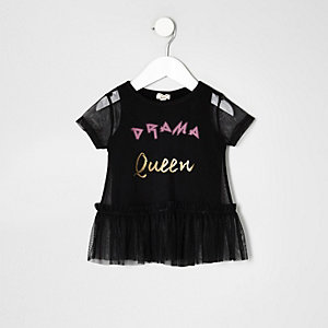 Top Drama Queen en tulle noir mini fille