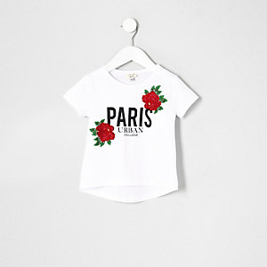 Mini girls white floral embroidered T-shirt