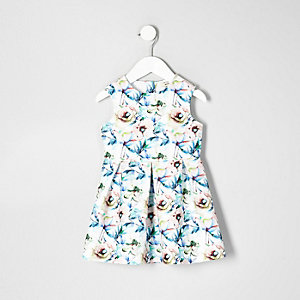 Mini girls white floral prom dress
