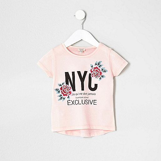 Mini girls pink floral embroidered T-shirt