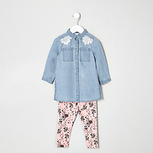Mini girls denim shirt and leggings set