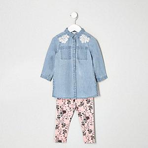 Mini girls denim shirt and leggings set