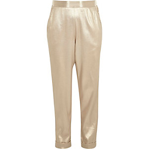 Girls gold metallic jogger style trousers