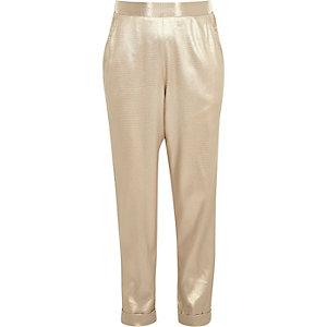 Pantalon style jogging doré métallisé pour fille