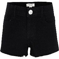 Girls black frayed hem denim shorts