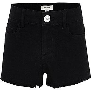 Girls black frayed hem denim shorts