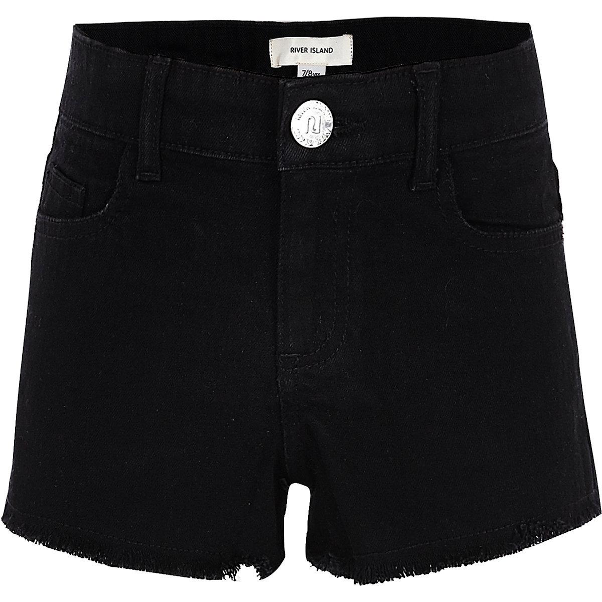 Girls Black Frayed Hem Denim Shorts Holiday Shop Sale Long Mickey