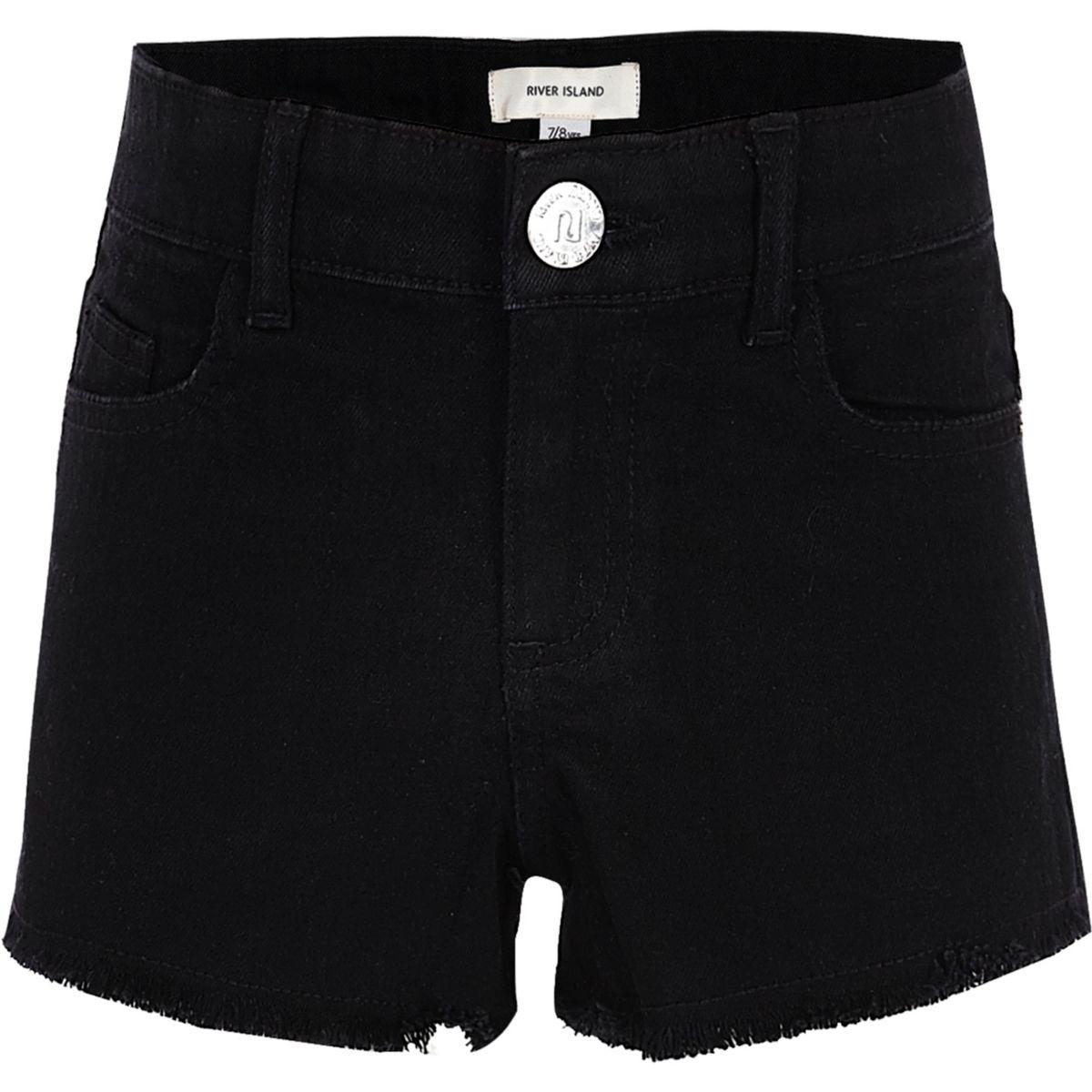Short en jean noir à ourlet effiloché pour fille