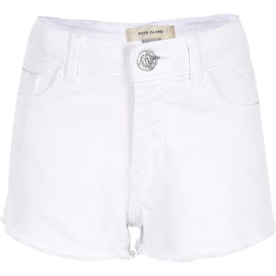 Witte denim short met gerafelde zoom voor meisjes