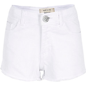 Girls white frayed hem denim shorts