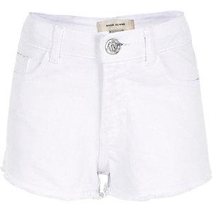 Short en jean blanc à ourlet effiloché pour fille