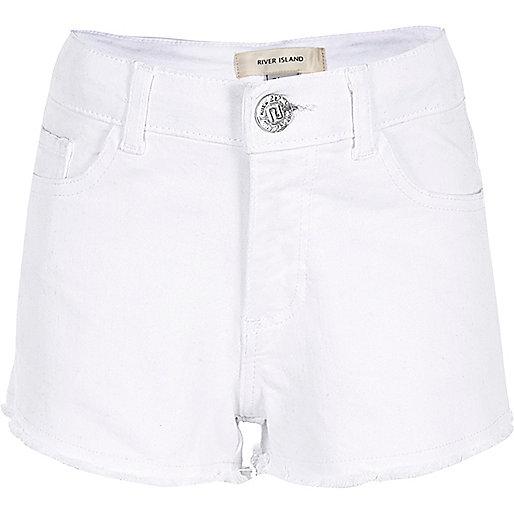 Girls white frayed hem denim shorts