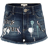 Girls blue graffiti print denim shorts