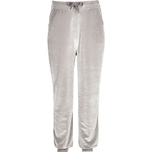 Girls grey velvet joggers
