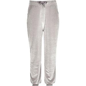 Pantalon de jogging en velours gris pour fille