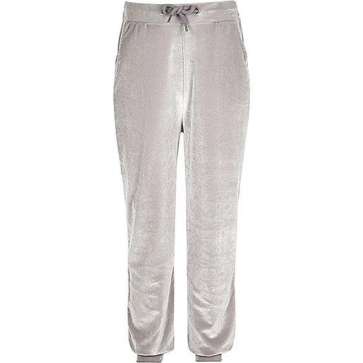 Girls grey velvet joggers