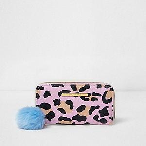 Porte-monnaie imprimé léopard rose à pompon pour fille