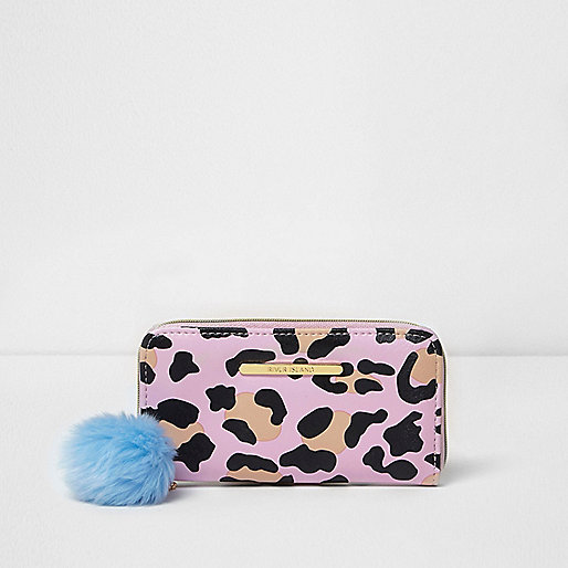 Girls pink leopard print pom pom purse