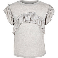 Girls grey marl frill T-shirt