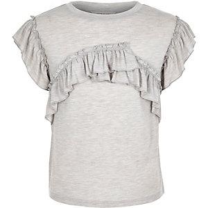 T-shirt gris chiné à volants pour fille