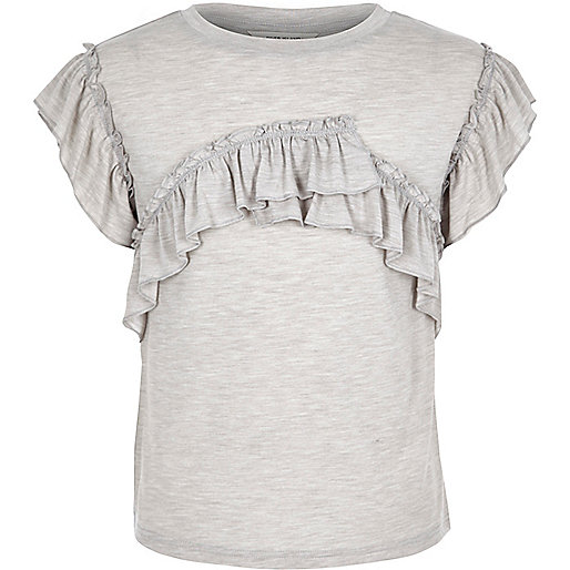 Girls grey marl frill T-shirt