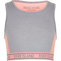Girls RI Active grey sports crop top