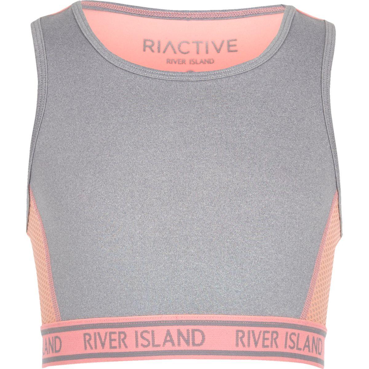 Girls RI Active grey sports crop top