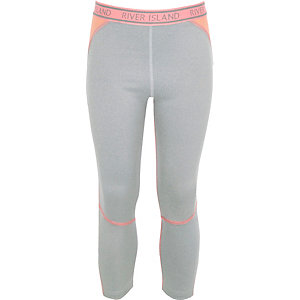 Girls RI Active grey contrast panel leggings