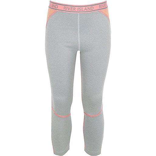 Girls RI Active grey contrast panel leggings