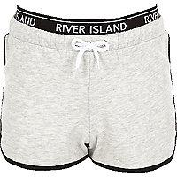 Girls RI Active grey marl runner shorts