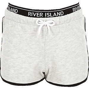 Girls RI Active grey marl runner shorts
