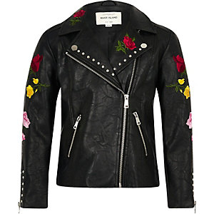 Girls black floral embroidered biker jacket